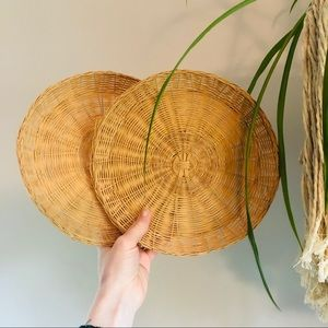 Set of Two Wicker Rattan Boho Basket Wall Decor